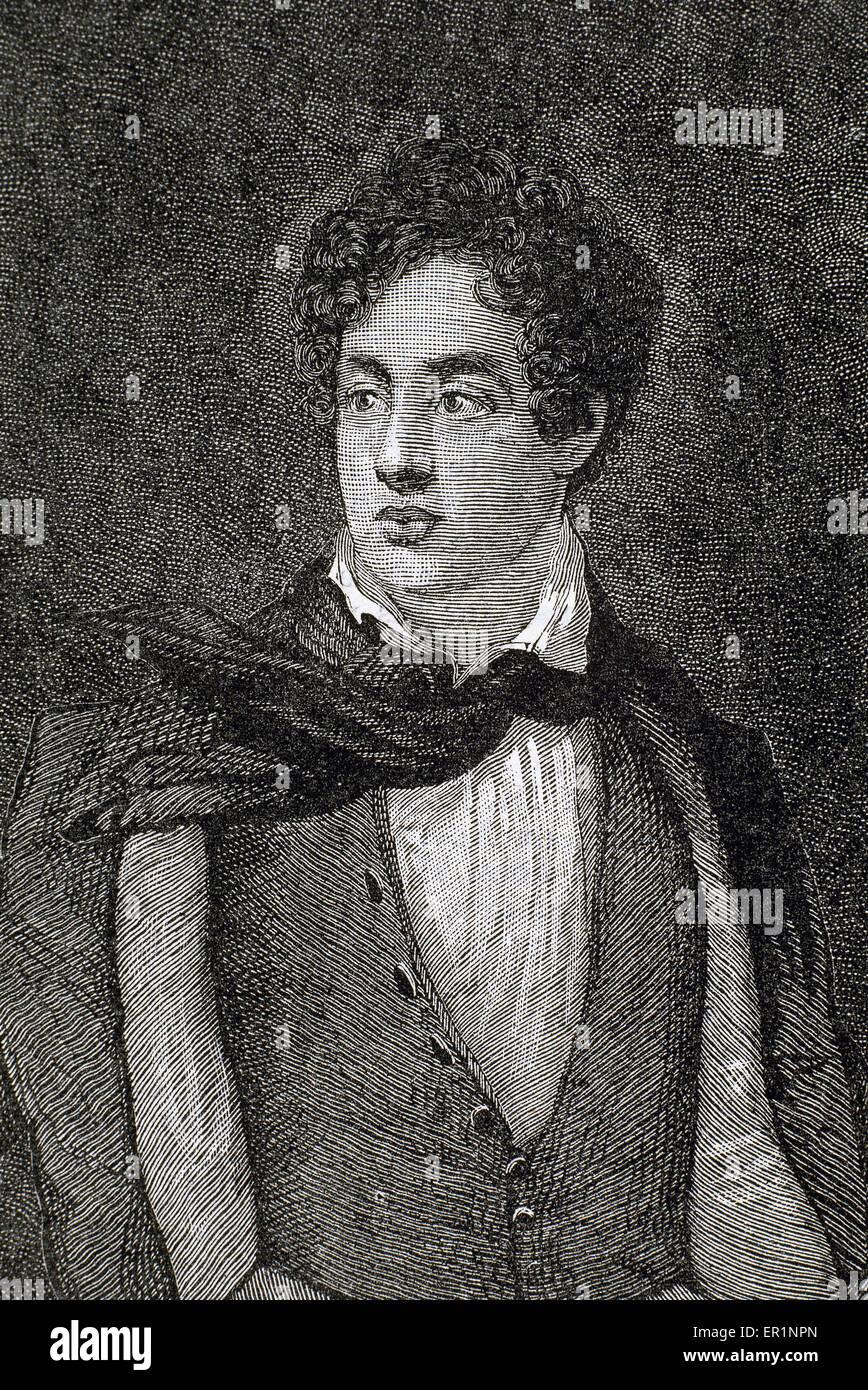 Lord Byron (1788-1824). Englischer Dichter. Romantischen Bewegung. Gravur. Stockbild