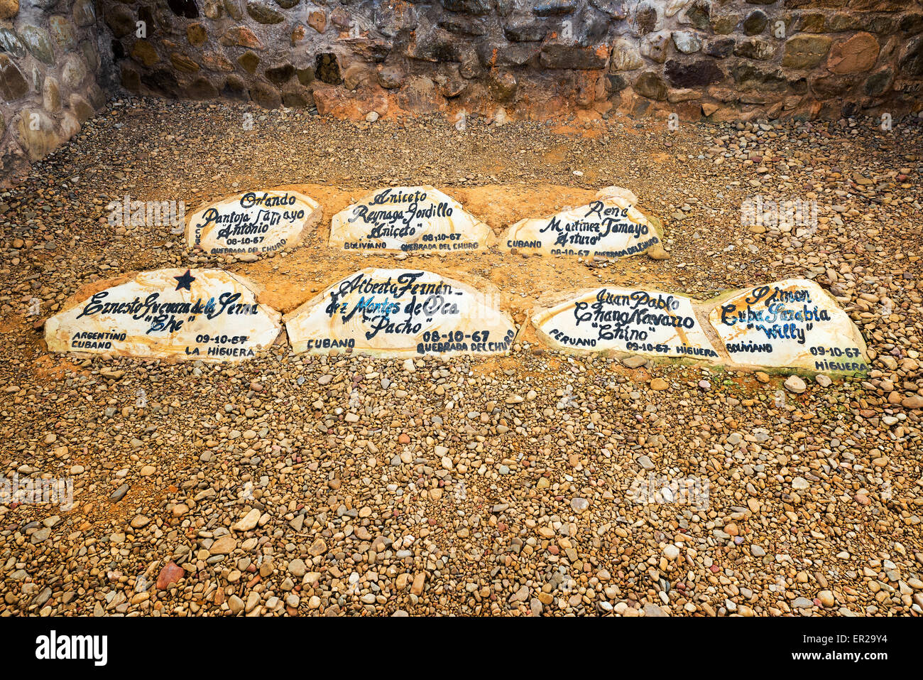 Website, wo Ernesto Che Guevara in Vallegrande, Bolivien mit mehreren Kameraden beigesetzt wurde Stockbild