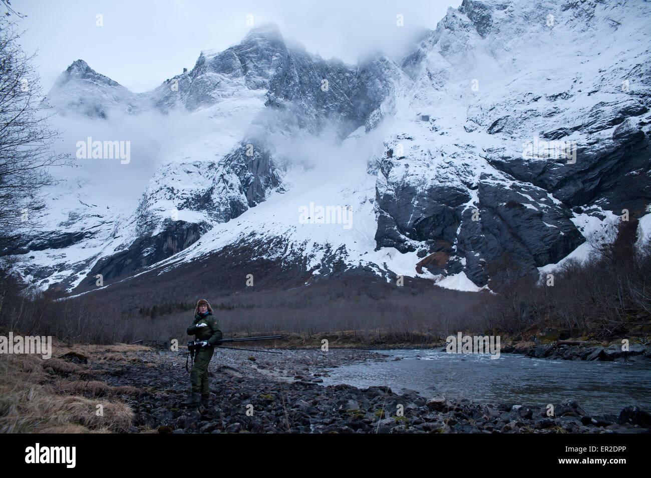Landschaft im Tal Romsdalen, Rauma Kommune, Møre Og Romsdal Fylke, Norwegen. Stockbild