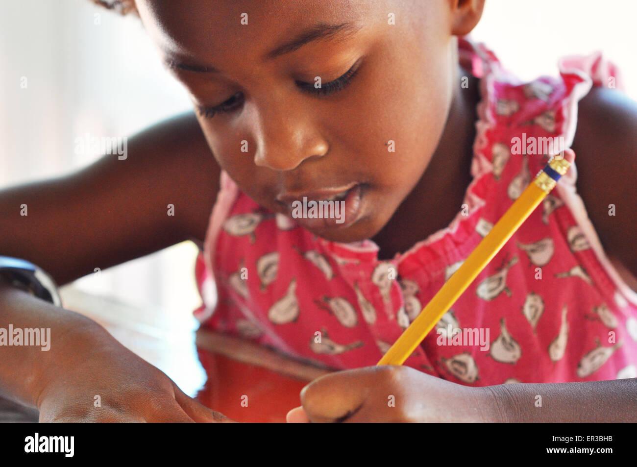 African American Girl studying Stockbild
