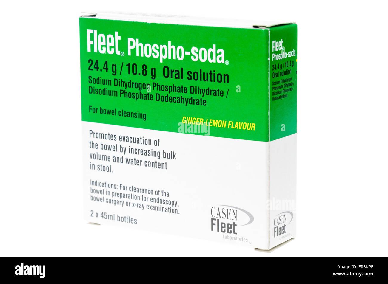 Fleet Phospho-Soda Schüssel Vorbereitung Lösung zum einnehmen, verwendet, um Darm vor Verfahren wie die Stockbild