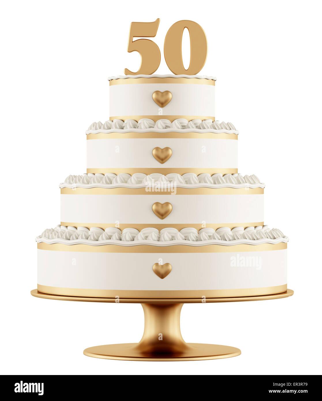Goldene Hochzeit Kuchen Isoliert Auf Weißem Hintergrund 3d