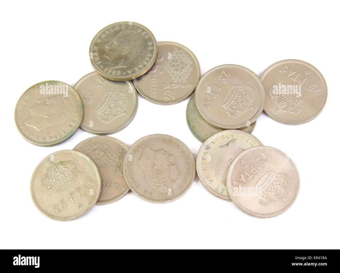 Haufen Von Alten Spanischen Münzen Isoliert Auf Weißem Hintergrund