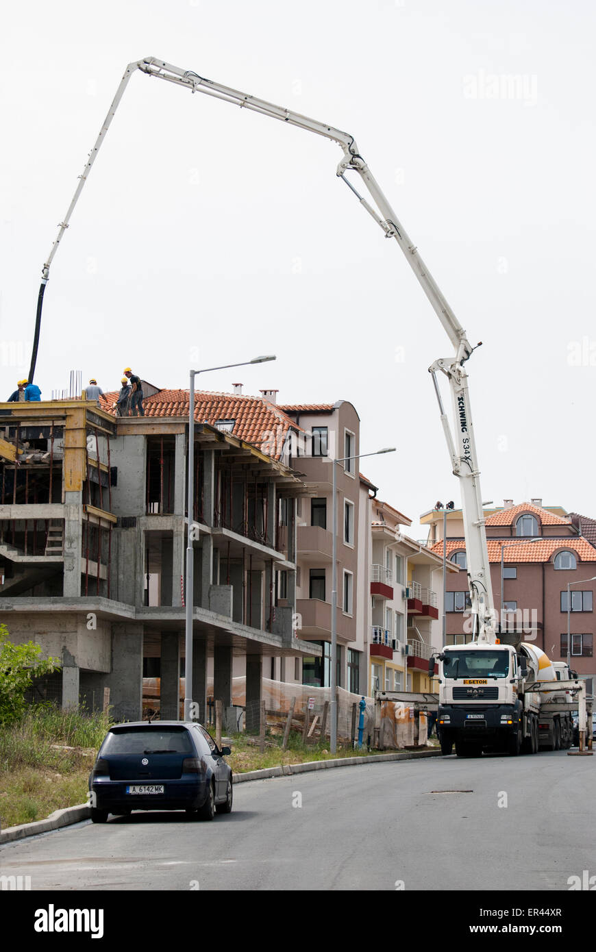 Wohnungsbau in Nessebar, Bulgarien Stockbild