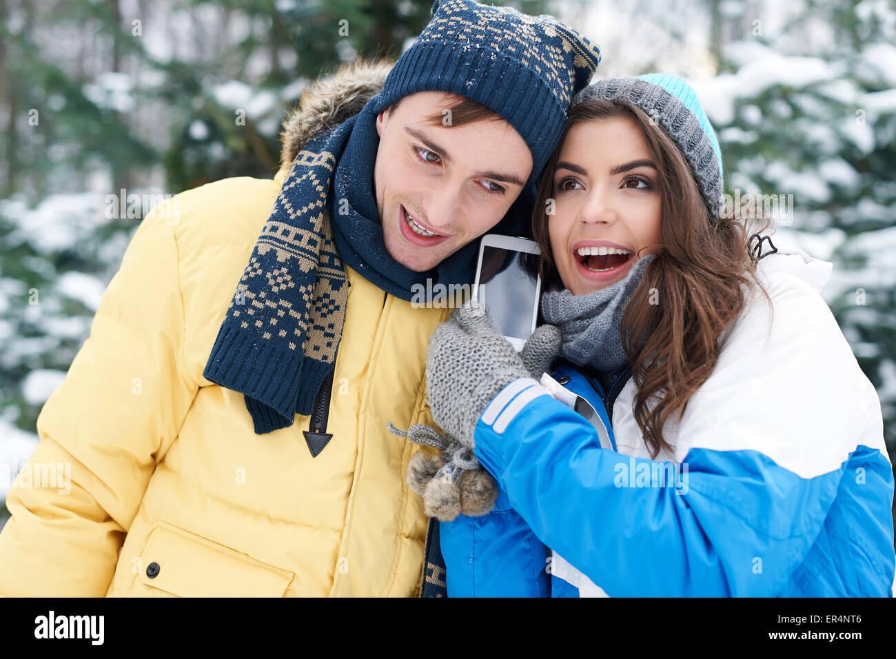 Herzliche Grüße von Winterurlaub. Debica, Polen Stockbild