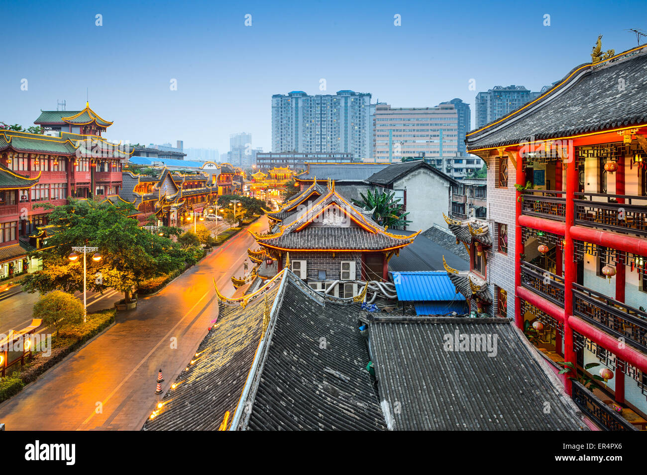 Chengdu, China am traditionellen Qintai Straße Bezirk. Stockbild