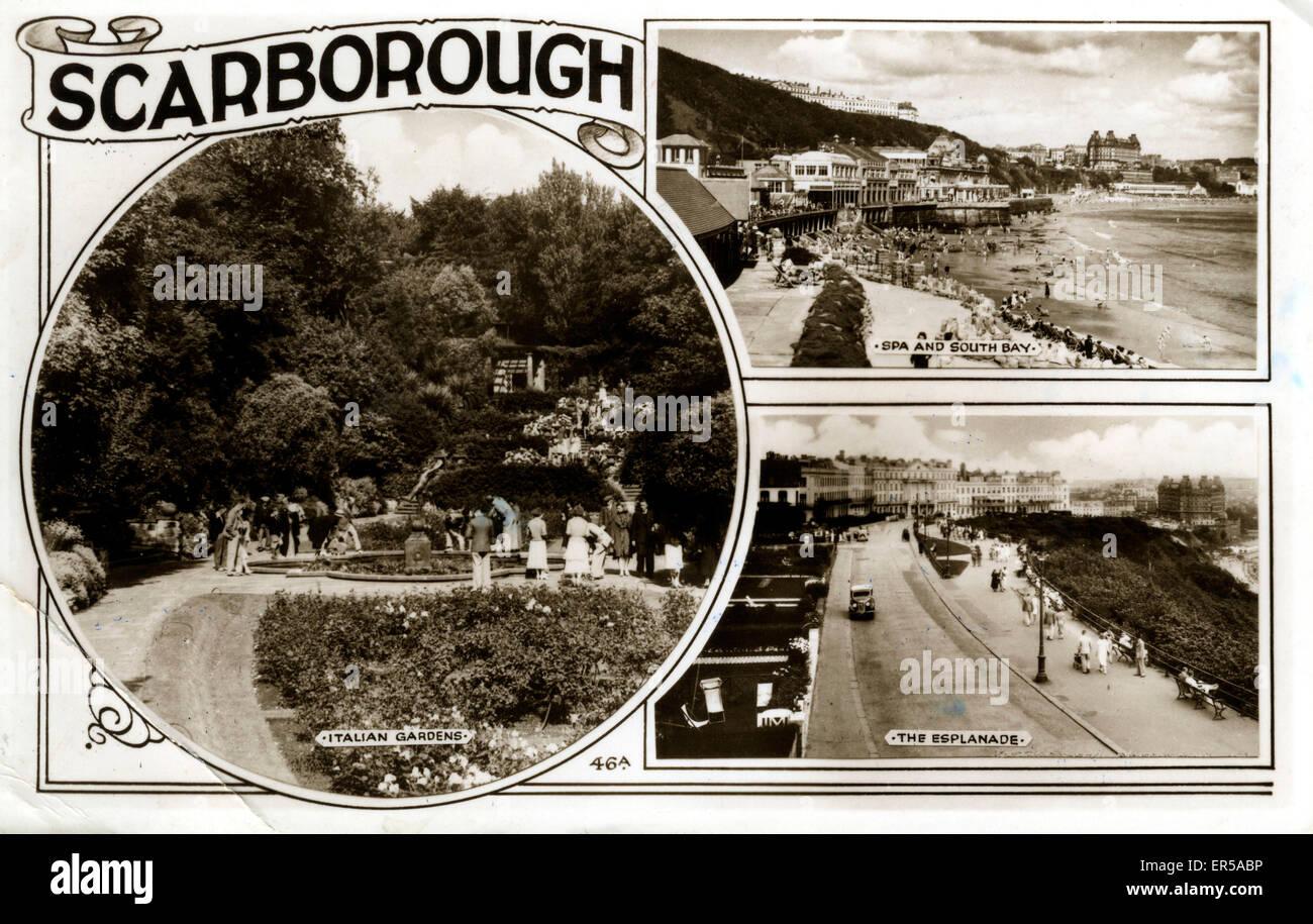 Multi-View, Scarborough, Yorkshire, England.  1955 Stockbild