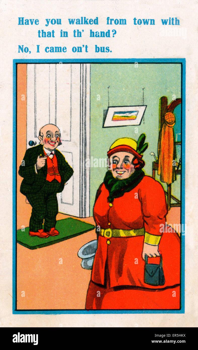 Comic-Postkarte, England.  1945 Stockbild