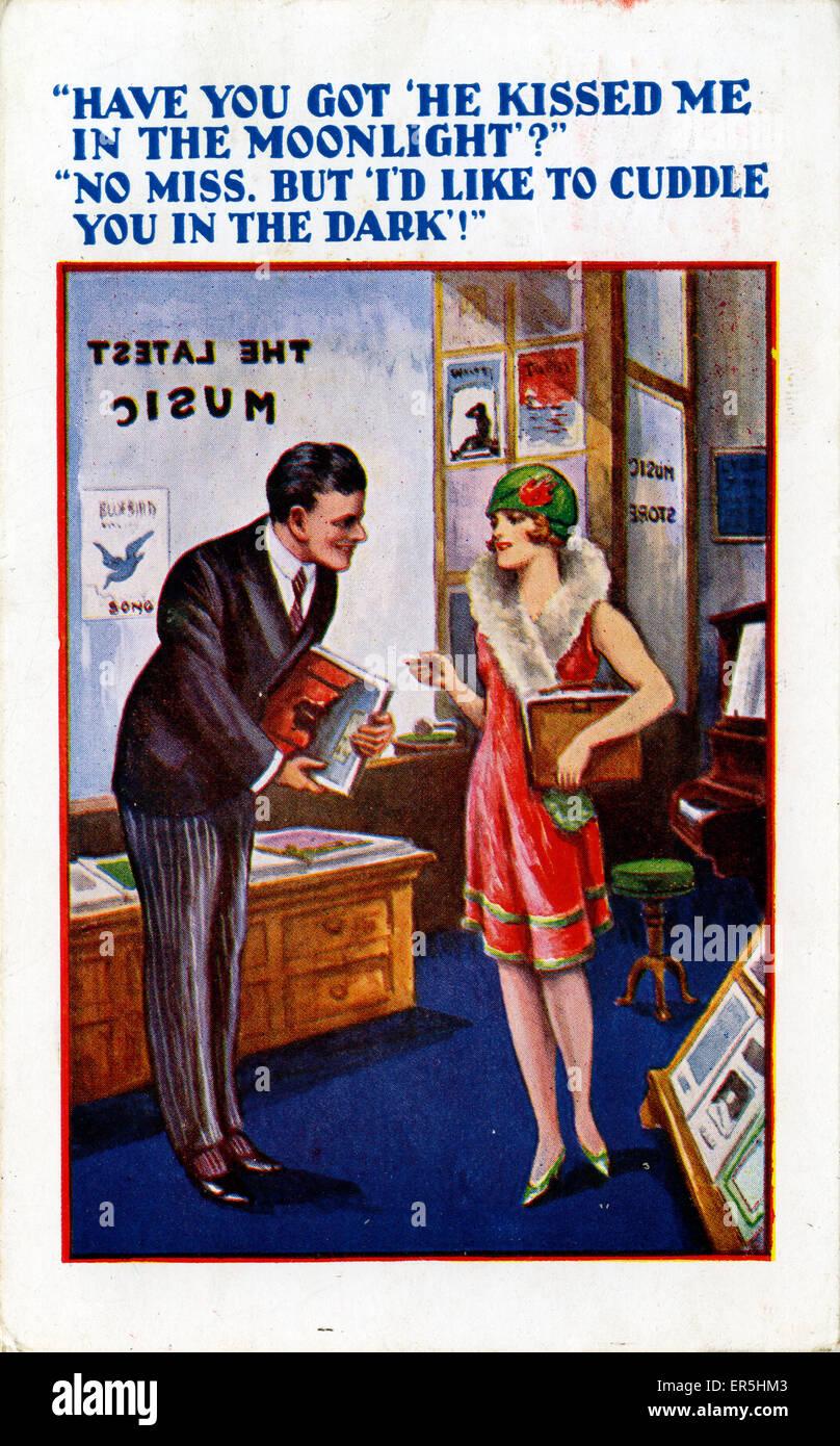 Comic-Postkarte, England.  1937 Stockbild
