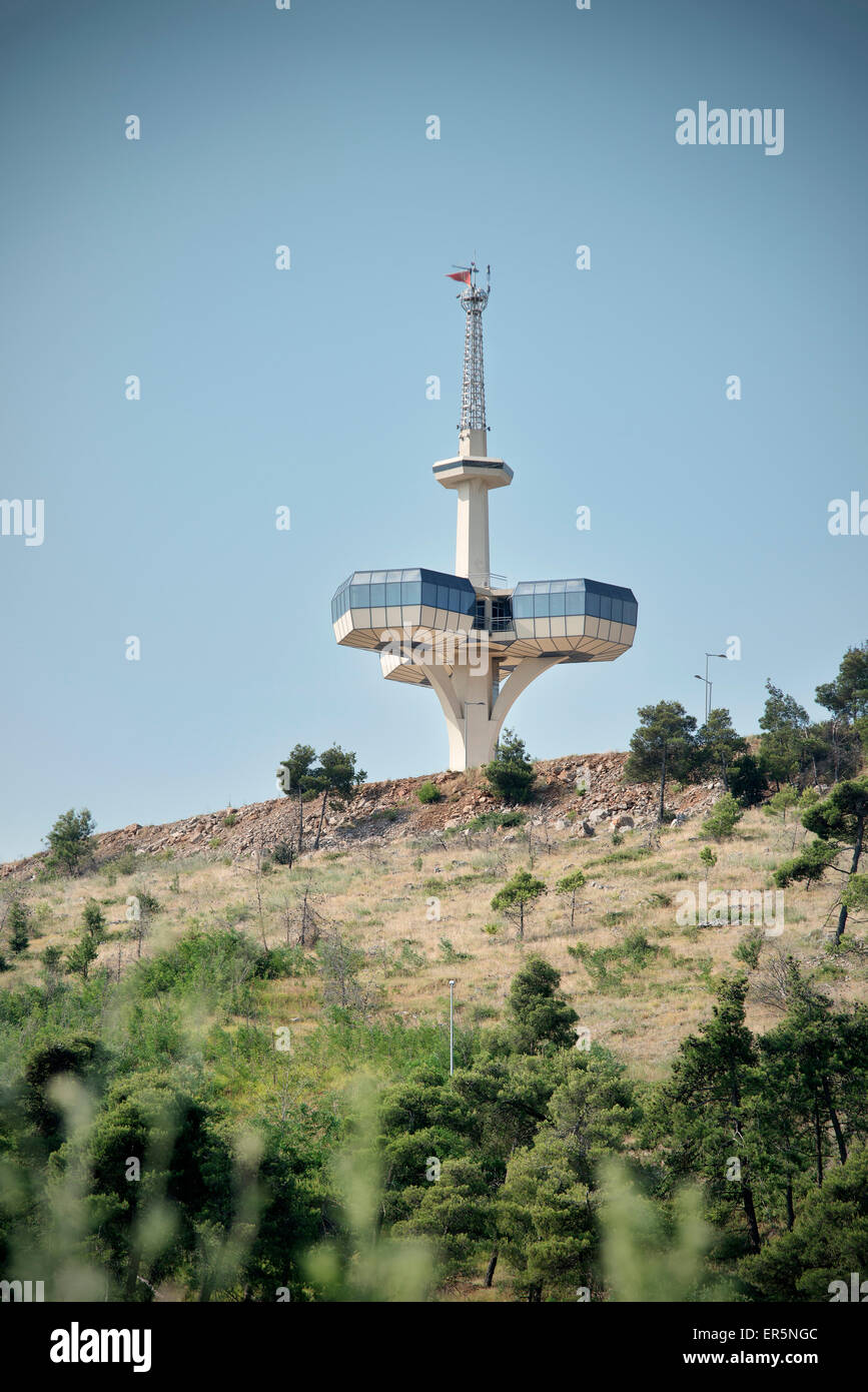 Radio Control Turm mit Aussichtsplattform, sozialistische Architektur in der Hauptstadt Podgorica, Montenegro, Balkan, Stockbild
