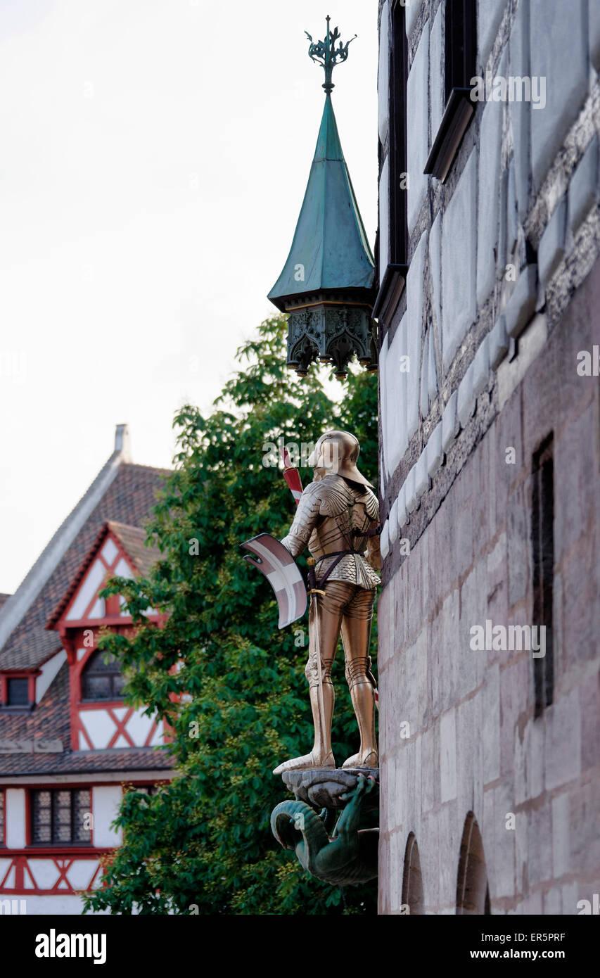 Pilatus-Haus, Albrecht-Dürer-Haus, Arbeitsplatz und Heimat des Künstlers Albrecht Duerer 1471-1528, Tiergaertnertorplatz, Stockbild
