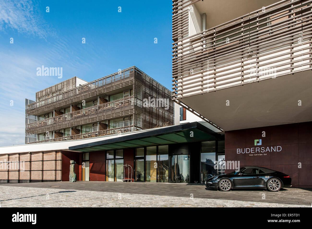 Aussenansicht Schuss von einem Hotel, Hoernum, Sylt, Schleswig-Holstein, Deutschland Stockbild