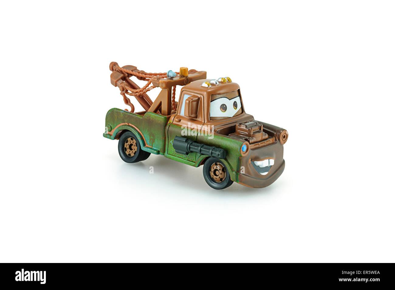 Bangkok, Thailand - 26. Januar 2014: Tow Mater Pick-up-Truck mit Maschinengewehr eine Hauptfigur der Disney Pixar Stockbild