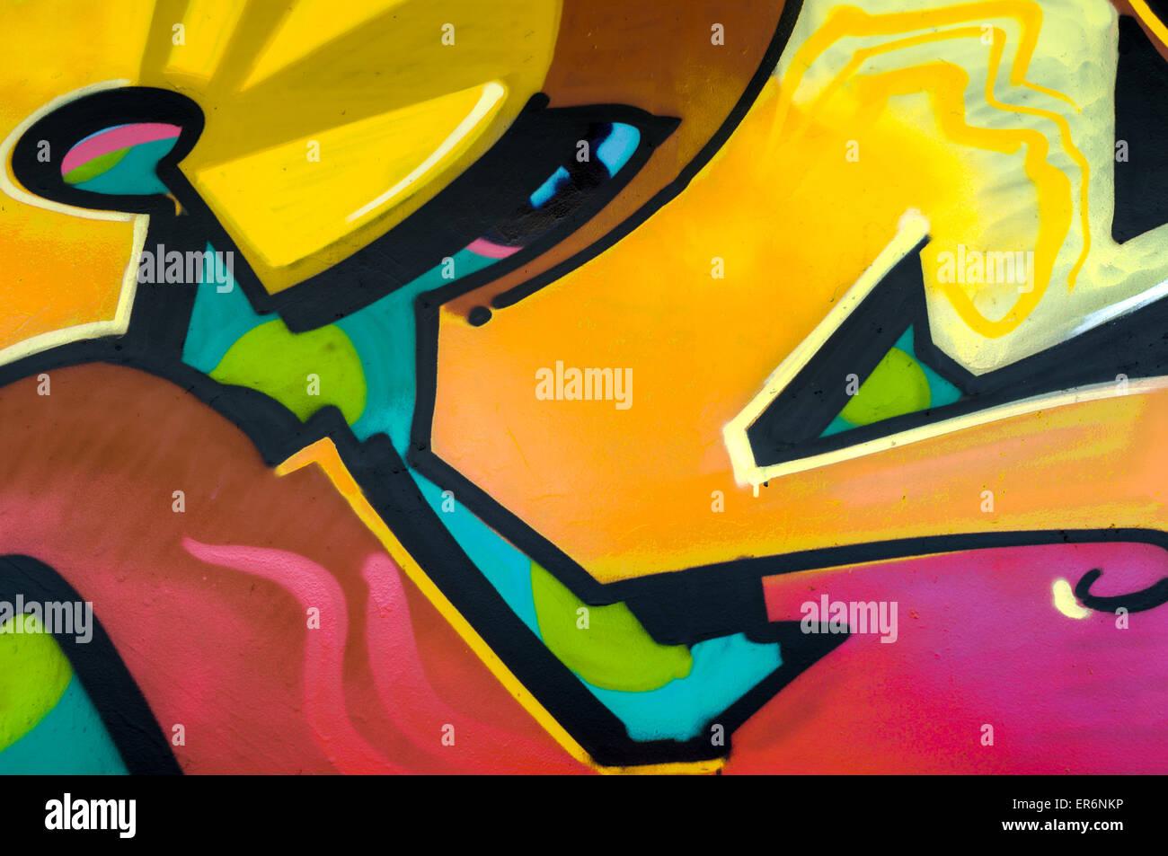 Graffiti-hellgelb & rot Stockfoto