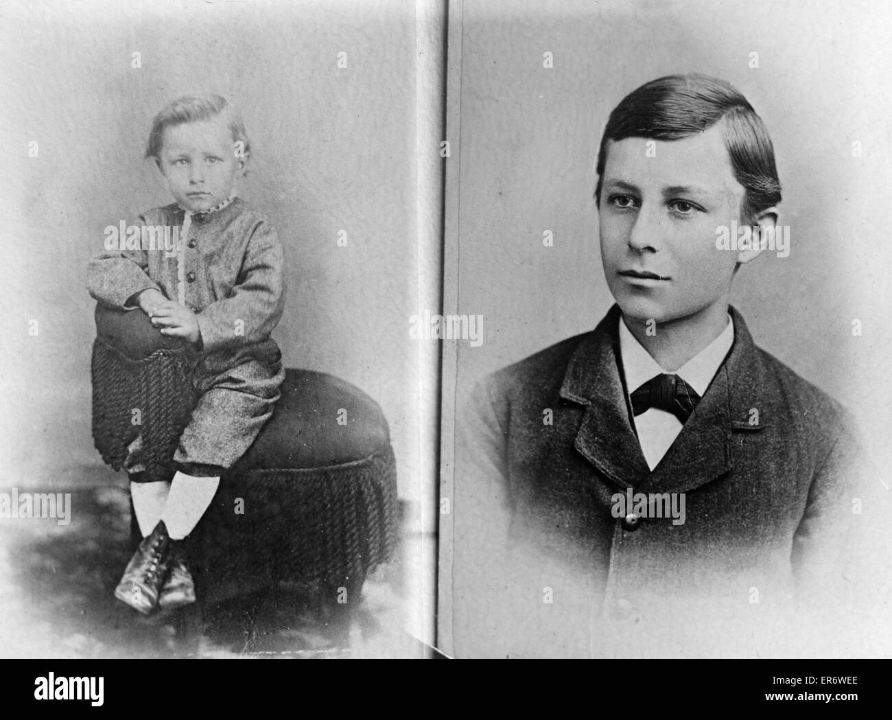Kindheit-Porträts von Wilbur Wright. Datum zwischen 1901 und 1928. Stockbild