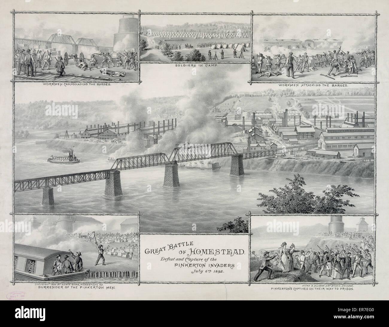 Große Schlacht von Homestead. Datum c1892. Stockbild