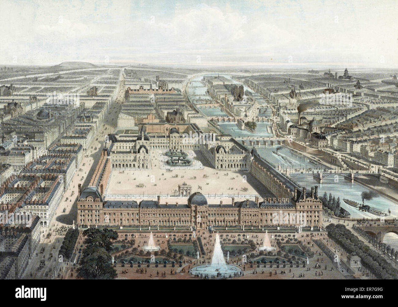 Moderne Paris. Le Louvre, Les Tuileries, et la rue de Rivoli, Vue Prise du Jardin des Tuileries (Nord-Ouest). Bis Stockfoto