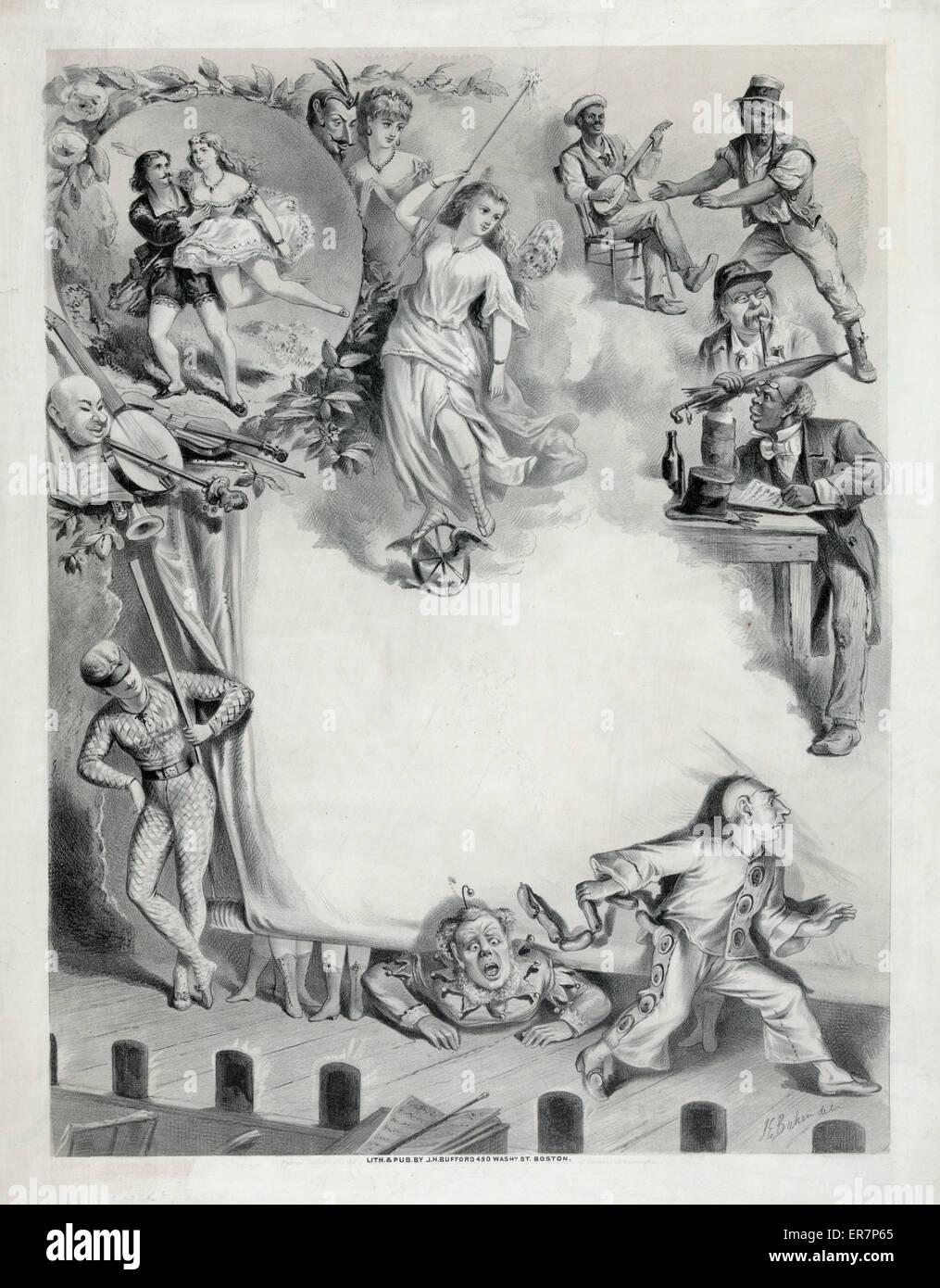 Leere Schautafel mit humorvollen Illustrationen. Datum c1872. Stockbild