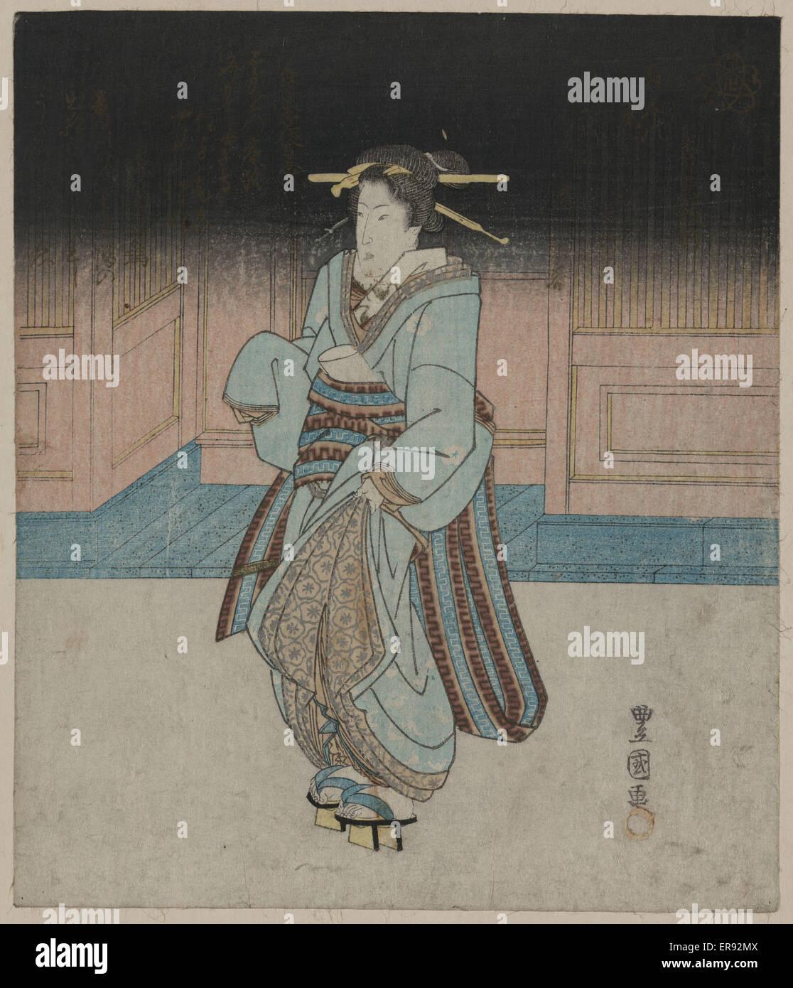 Eine Geisha an einem Abend schlendern Sie in Fukagawa. Datum zwischen 1828 und 1833. Stockbild