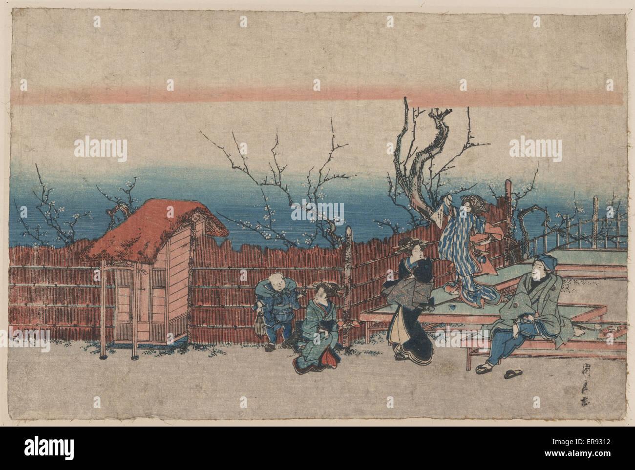 Villa in Kameido. Druck zeigt eine Familie innerhalb der Bambus Mauern einer riverside Villa. Datum zwischen 1830 Stockbild