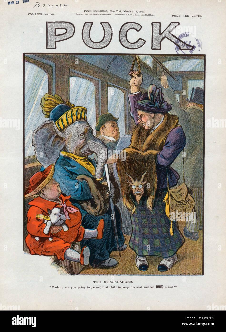 Die Gurt-Aufhänger. Abbildung zeigt Theodore Roosevelt als eine ältere Frau, das Tragen von Pelzen und Stockbild