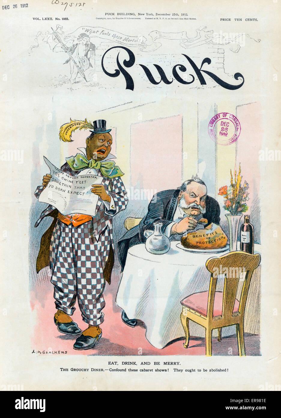Essen, trinken und fröhlich sein. Abbildung zeigt ein zorniger, gut gekleideter Mann beschriftet Monopol sitzen Stockbild