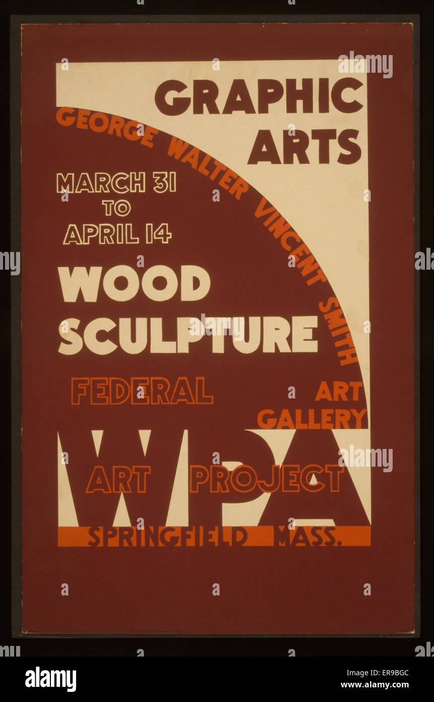Grafik - Holz-Skulptur, George Walter Vincent Smith Art Gallery, Springfield, Massachusetts Plakat kündigt Stockbild