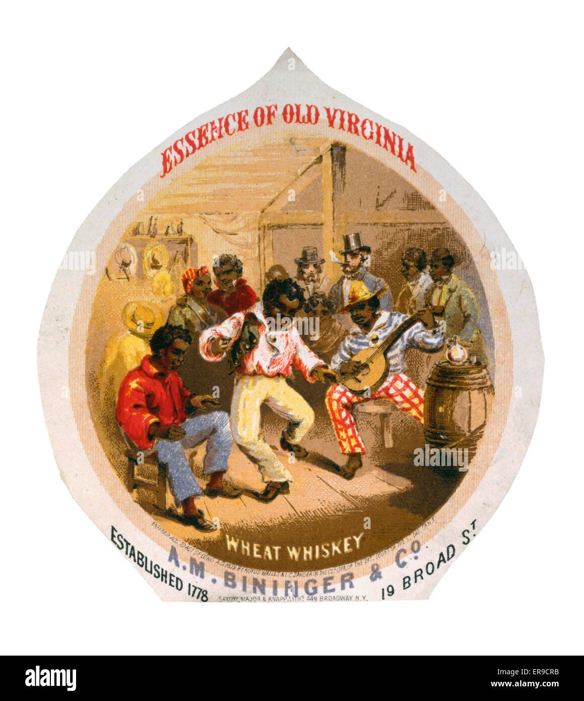 Das Wesen der alten Virginia Weizen Whisky, AM Bininger & Co. Whiskey Werbung Label Afro-Amerikaner in Taverne Stockbild