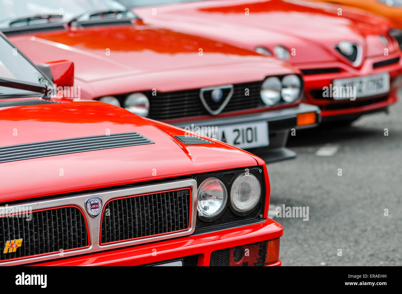 Eine Reihe von Lancia und Alfa Romeo Autos. Stockbild