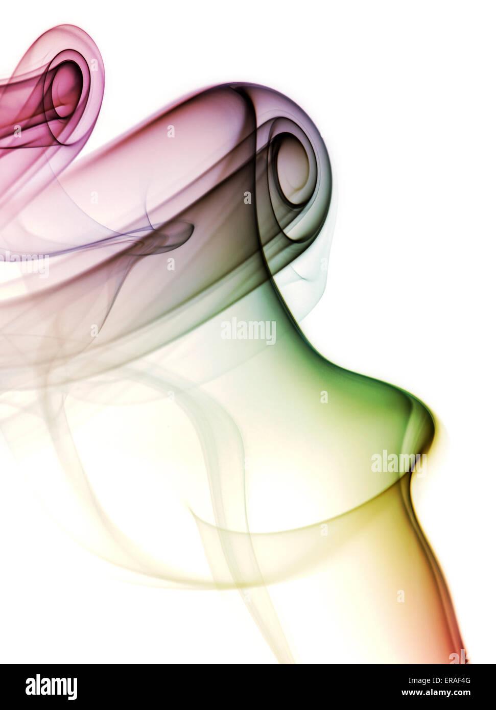 Bunten Rauch ein Räucherstäbchen Stockbild