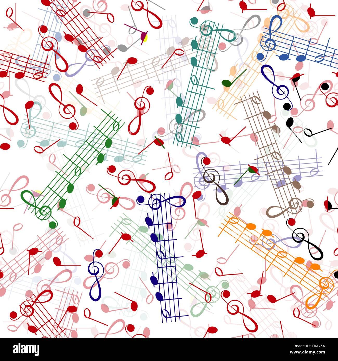 Musiknotation Wiederholung Muster auf weißem Hintergrund Stockbild