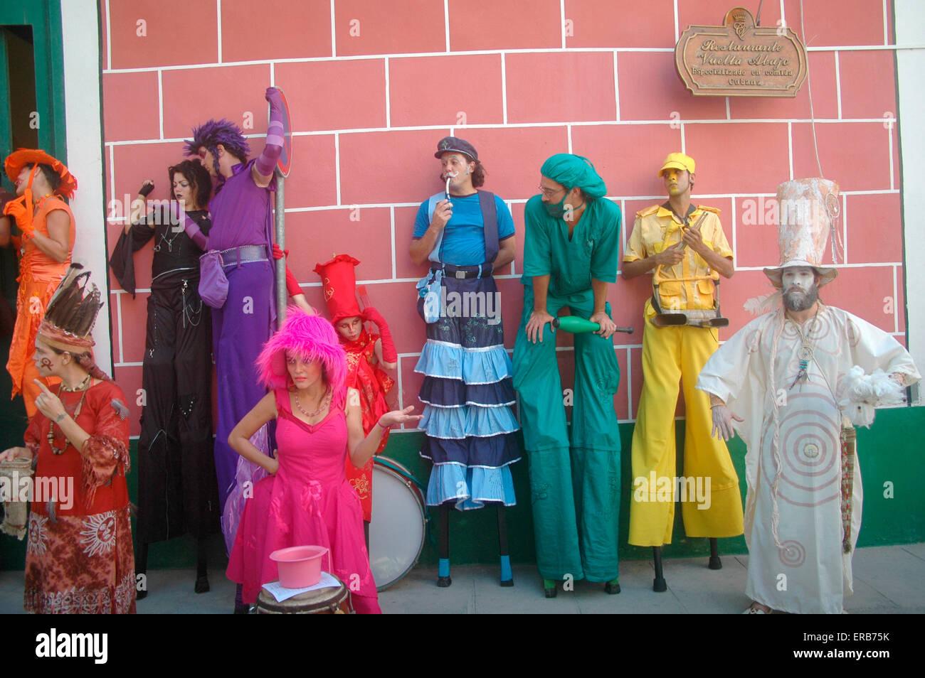 Pantomime / Strassentheater, Havanna, Kuba. Stockbild