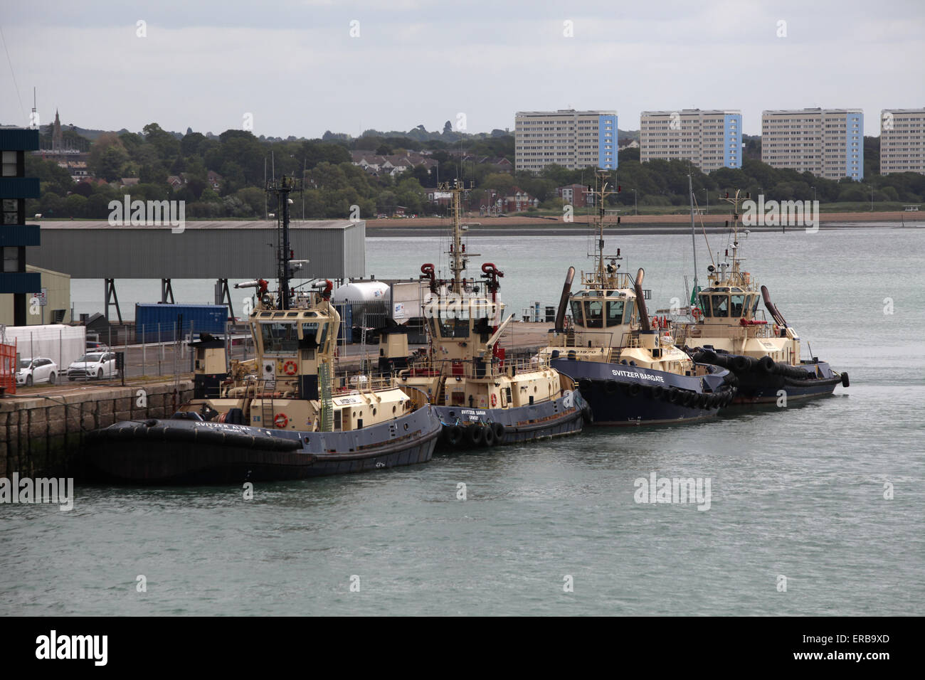 Schleppboote vertäut am Dock Kopf in Southampton Docks Stockbild