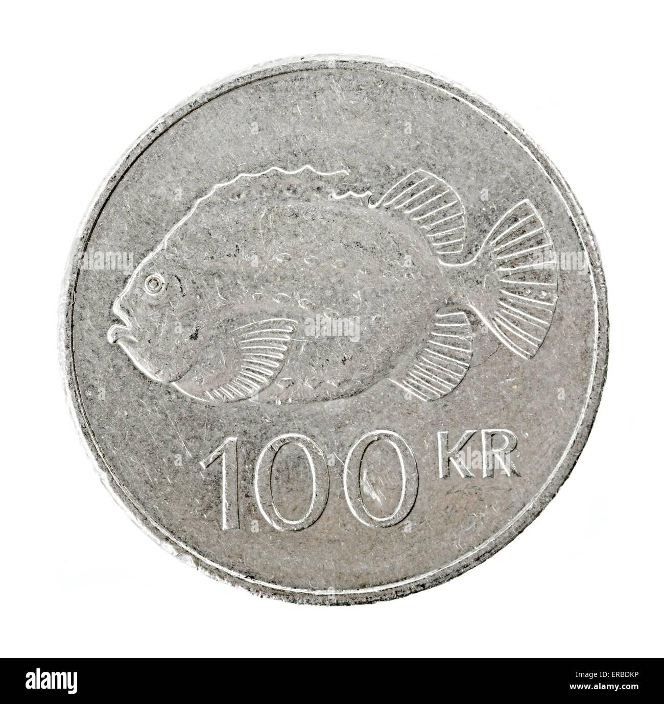 Isländische 100 Kronen Münze Stockfoto Bild 83230778 Alamy