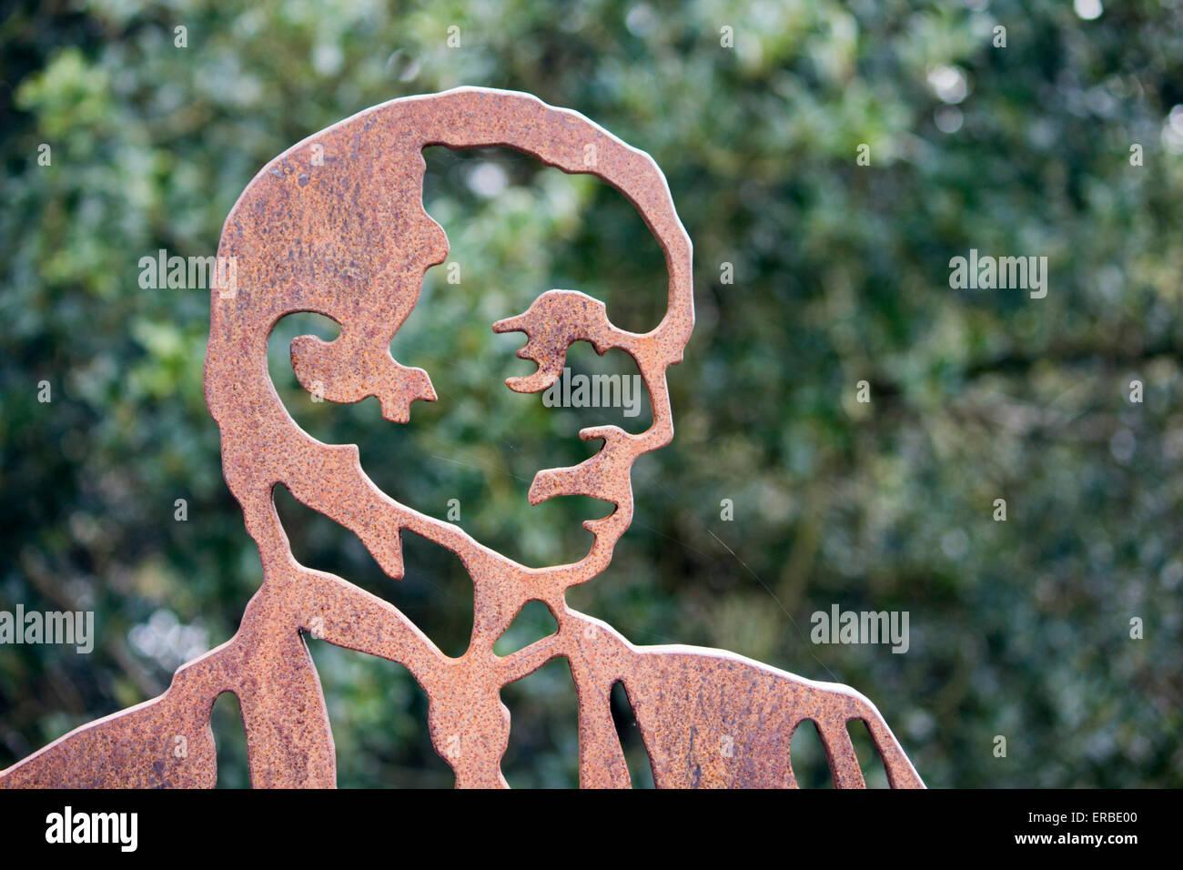 Kopfschuss Einer Portrat Bank Aus Gusseisen Figur Skulptur Von J M