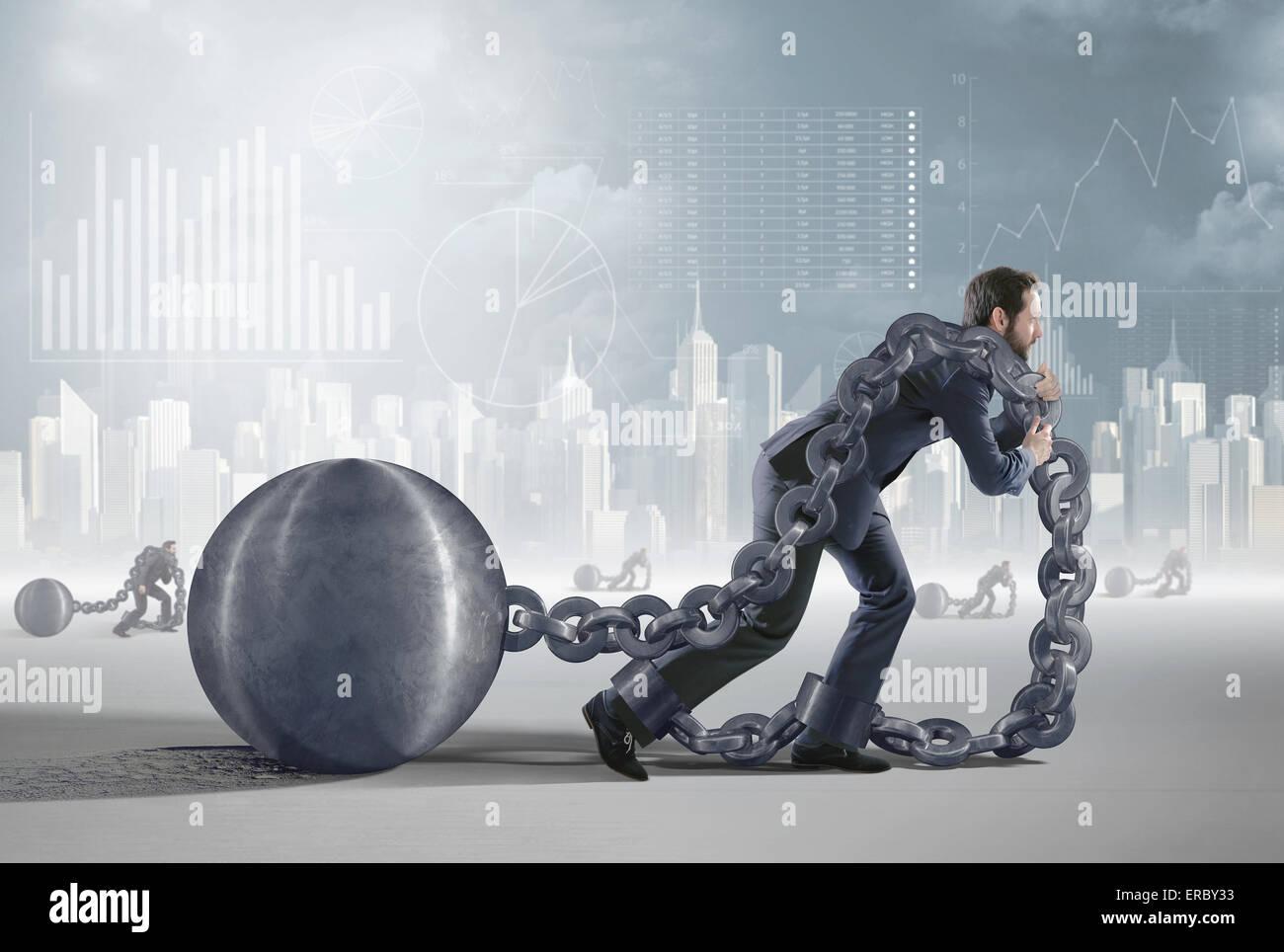 Darstellung präsentiert einen müden Schuldner Stockfoto