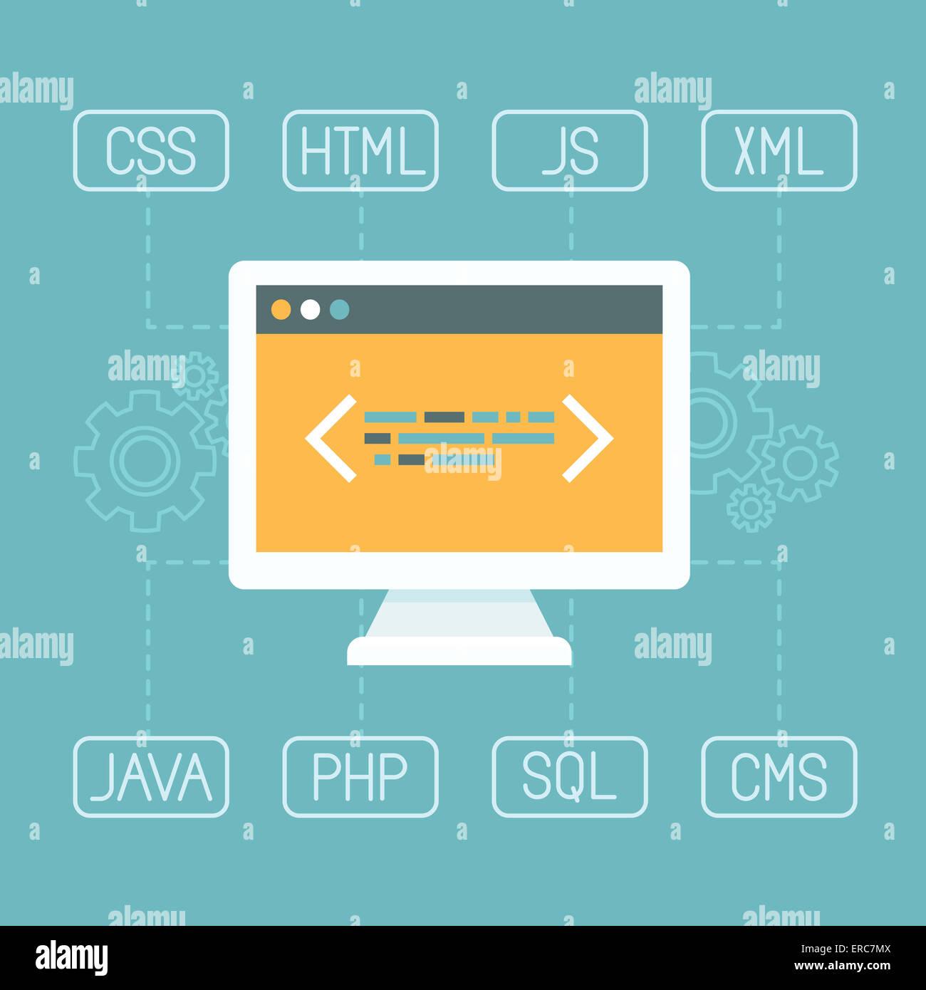 Web-Entwicklungskonzept in flachen Stil - Programmierung und Programmierung Konzept - Internet tecgnologies Stockbild