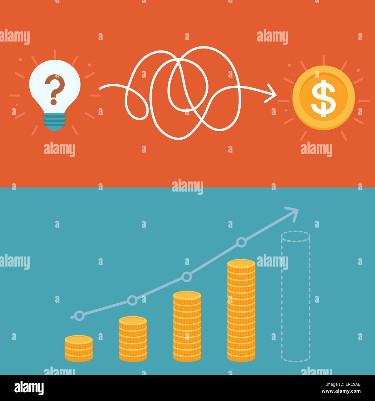 Idee, Business-Plan-Konzept im flachen Stil - Finanzstrategie Stockbild