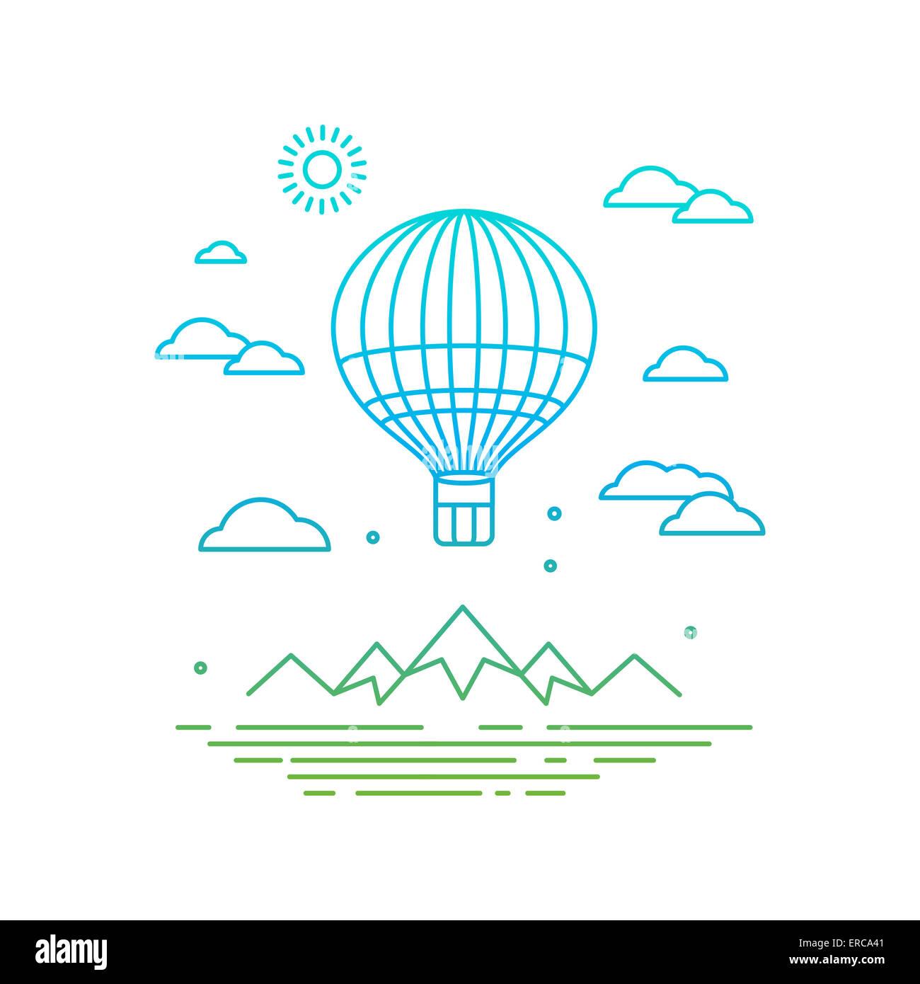 Reisekonzept in linearen Stil - Ballon über die Berge fliegen Stockbild