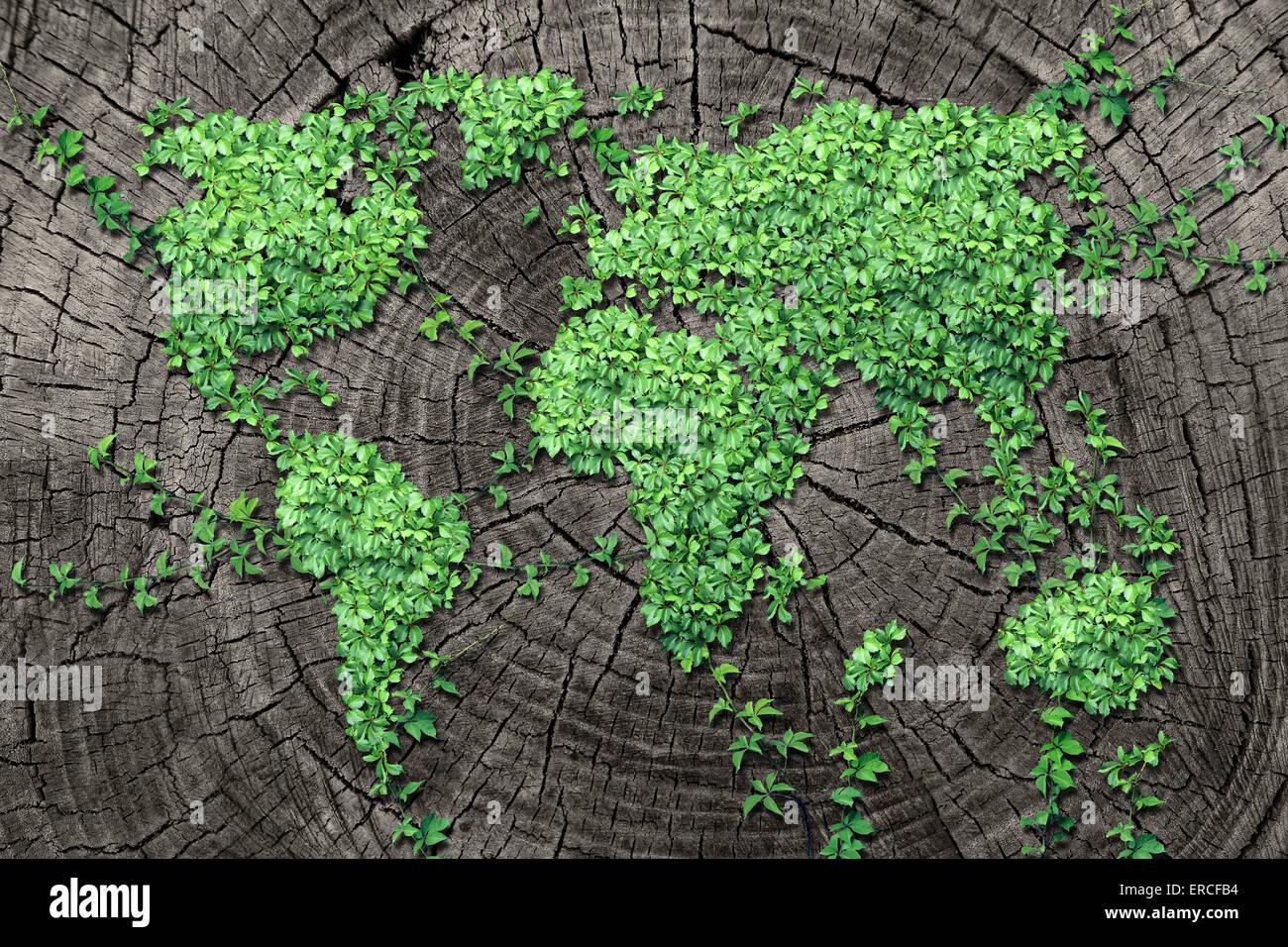 Weltweite Ausbreitung Konzept und Entwicklung als ein Geschäftskonzept mit einer Karte der Welt gemacht der Stockbild