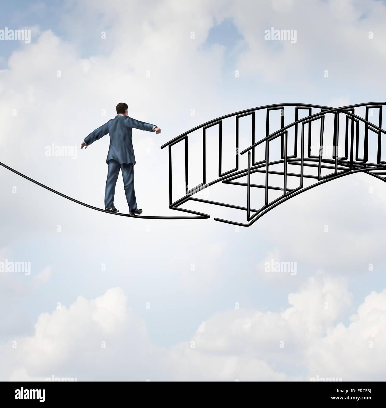 Risiko-Reduktion-Konzept als Geschäftsmann auf einem Drahtseil zu Fuß auf einem Draht, der als sichere Stockbild