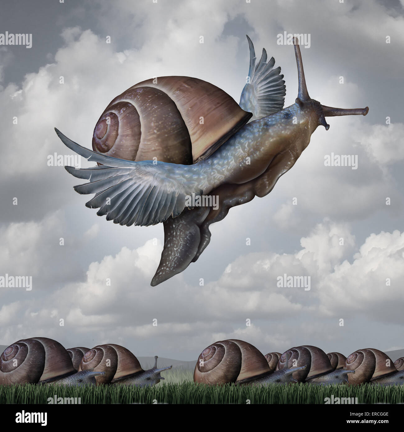 Vorteil-Konzept als Metapher Geschäft mit einer surrealen Masse der Schnecken kriechen langsam auf den Boden Stockbild