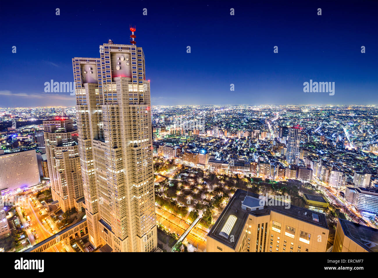 Shinjuku, Tokio, Japan Stadtbild bei Metropolitan Government Building. Stockbild