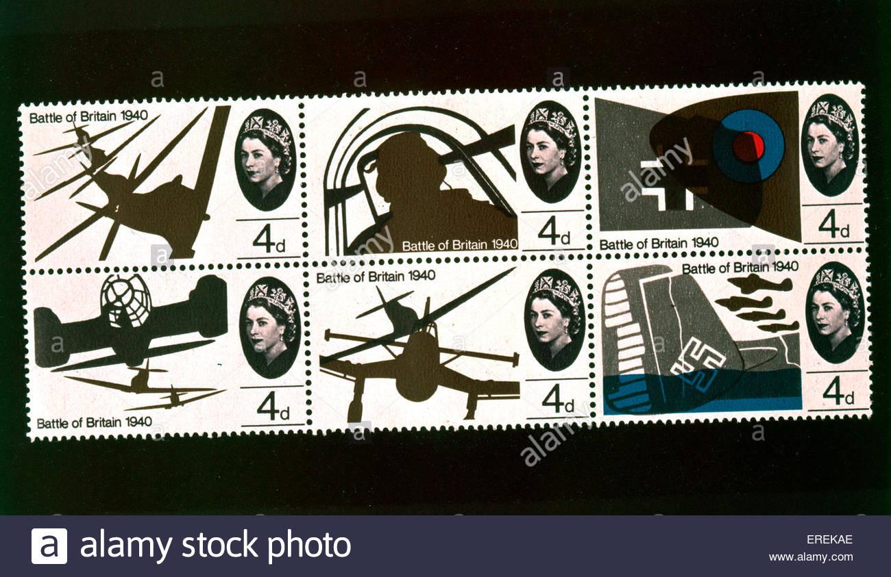 Luftschlacht um England Briefmarken, zum Gedenken an die Ereignisse des Sommers 1940. Stockbild