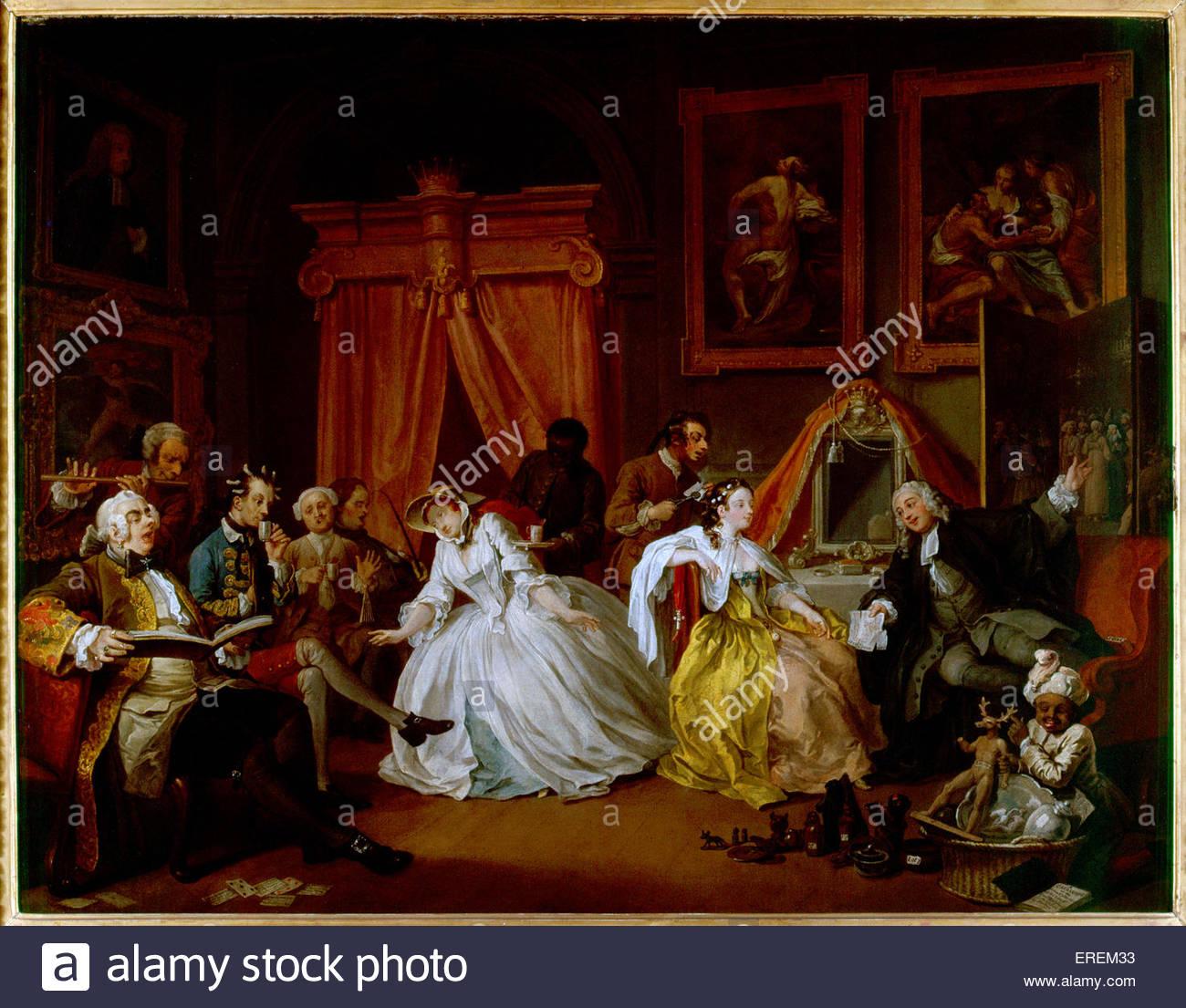 Ehe A-la-Mode: 4, die Toilette von William Hogarth. Ca. 1743, Ölgemälde, 70,5 x 90,8 cm.  Gemälde Stockbild