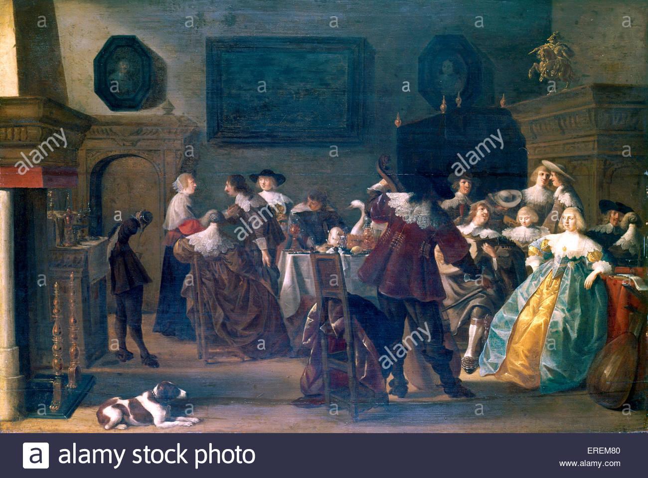 Cavaliers & Damen von Anthoine Palamedes (auch Antonie Palamedesz), niederländischer Maler (1601-1673). Stockbild