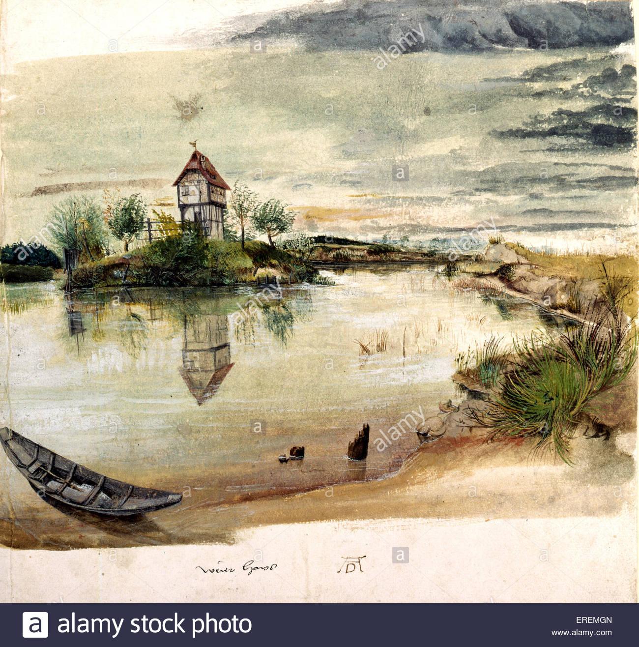 Fischerhaus am See von Albrecht Dürer, ca. 1496. In der Nähe von Nürnberg. Kleines Gebäude ermittelt Stockbild