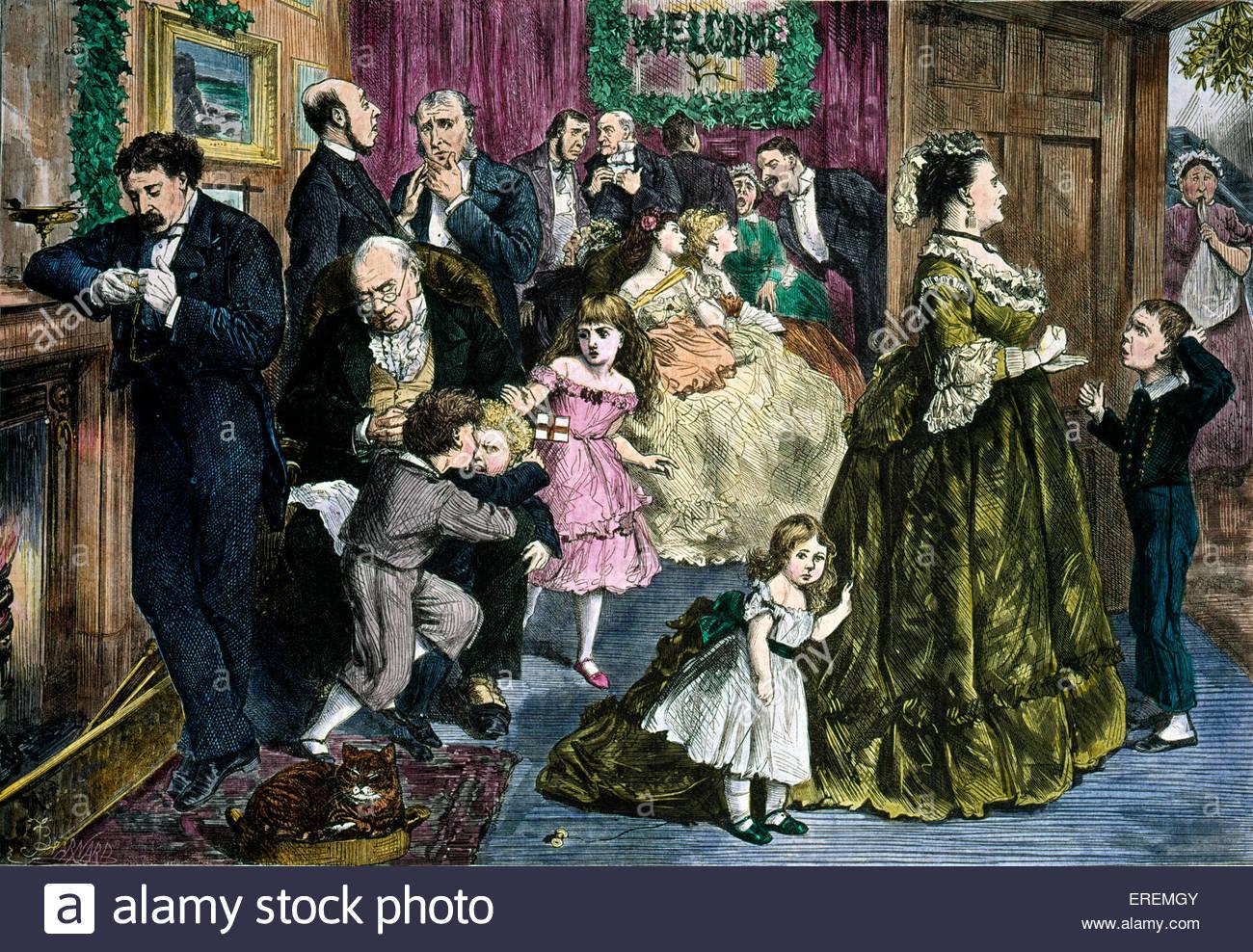 """Viktorianische Weihnachtskarte, """"die halbe Stunde vor dem Essen"""". Mit freundlicher Genehmigung von V & Stockbild"""