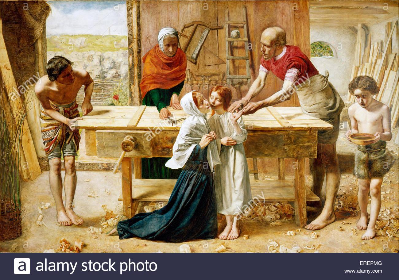 """Christus im Haus seiner Eltern von John Millais (""""die Schreinerei""""), 1849 - 50. Öl auf Leinwand-Unterstützung: Stockbild"""