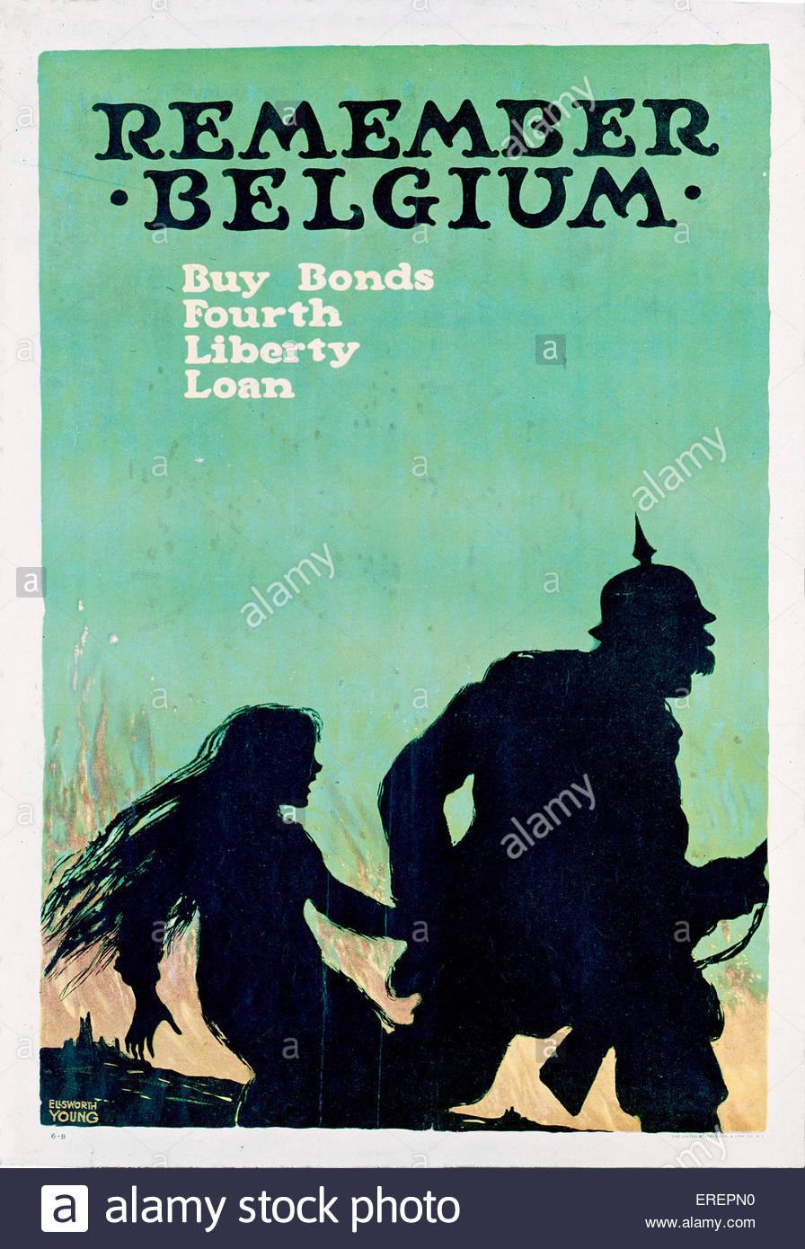 Denken Sie daran, Belgien - amerikanische Wort Krieg ich Poster, 1918. Von Ellsworth Young. Menschen ermutigen, Stockbild